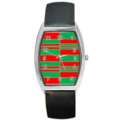 Christmas Colors Red Green Barrel Style Metal Watch