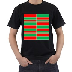 Christmas Colors Red Green Men s T-Shirt (Black) (Two Sided)