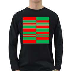 Christmas Colors Red Green Long Sleeve Dark T Shirts