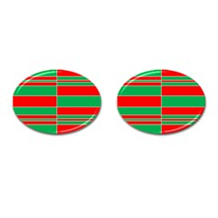 Christmas Colors Red Green Cufflinks (Oval)