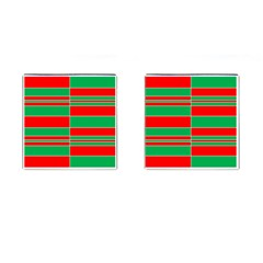 Christmas Colors Red Green Cufflinks (square)