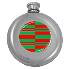 Christmas Colors Red Green Round Hip Flask (5 oz)