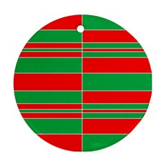 Christmas Colors Red Green Round Ornament (Two Sides)