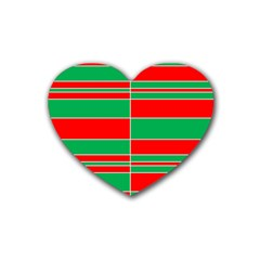 Christmas Colors Red Green Rubber Coaster (Heart)