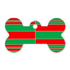 Christmas Colors Red Green Dog Tag Bone (Two Sides)