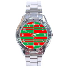 Christmas Colors Red Green Stainless Steel Analogue Watch