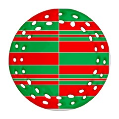 Christmas Colors Red Green Round Filigree Ornament (Two Sides)