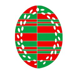 Christmas Colors Red Green Ornament (Oval Filigree)