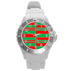 Christmas Colors Red Green Round Plastic Sport Watch (L)