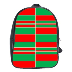 Christmas Colors Red Green School Bags (XL)