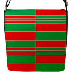 Christmas Colors Red Green Flap Messenger Bag (S)