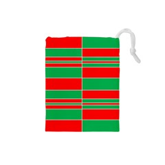 Christmas Colors Red Green Drawstring Pouches (Small)