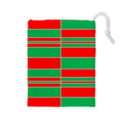 Christmas Colors Red Green Drawstring Pouches (Large)
