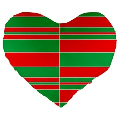Christmas Colors Red Green Large 19  Premium Flano Heart Shape Cushions