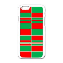 Christmas Colors Red Green Apple iPhone 6/6S White Enamel Case
