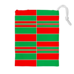 Christmas Colors Red Green Drawstring Pouches (Extra Large)