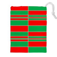 Christmas Colors Red Green Drawstring Pouches (XXL)
