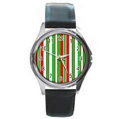 Christmas Holiday Stripes Red green,white Round Metal Watch