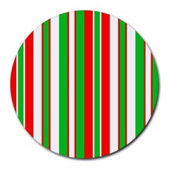 Christmas Holiday Stripes Red green,white Round Mousepads