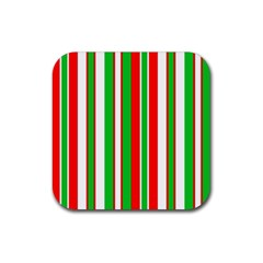 Christmas Holiday Stripes Red green,white Rubber Square Coaster (4 pack)