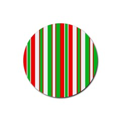 Christmas Holiday Stripes Red green,white Rubber Round Coaster (4 pack)