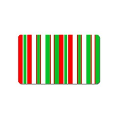 Christmas Holiday Stripes Red green,white Magnet (Name Card)
