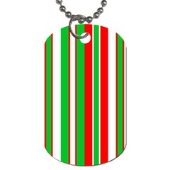 Christmas Holiday Stripes Red green,white Dog Tag (One Side)