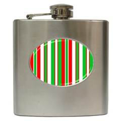 Christmas Holiday Stripes Red green,white Hip Flask (6 oz)