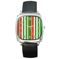 Christmas Holiday Stripes Red green,white Square Metal Watch