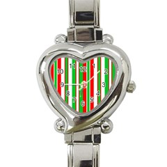 Christmas Holiday Stripes Red green,white Heart Italian Charm Watch