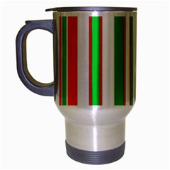 Christmas Holiday Stripes Red Green,white Travel Mug (silver Gray)