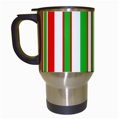 Christmas Holiday Stripes Red green,white Travel Mugs (White)