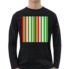 Christmas Holiday Stripes Red green,white Long Sleeve Dark T-Shirts