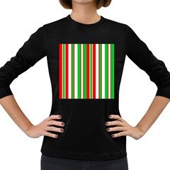 Christmas Holiday Stripes Red green,white Women s Long Sleeve Dark T-Shirts