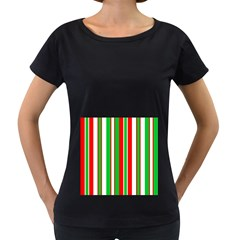 Christmas Holiday Stripes Red green,white Women s Loose-Fit T-Shirt (Black)
