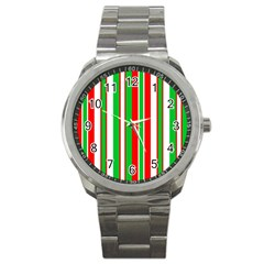 Christmas Holiday Stripes Red Green,white Sport Metal Watch