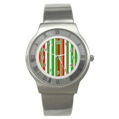 Christmas Holiday Stripes Red green,white Stainless Steel Watch