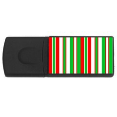 Christmas Holiday Stripes Red green,white USB Flash Drive Rectangular (4 GB)