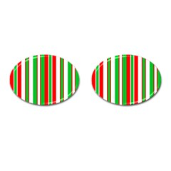 Christmas Holiday Stripes Red green,white Cufflinks (Oval)