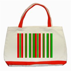 Christmas Holiday Stripes Red green,white Classic Tote Bag (Red)