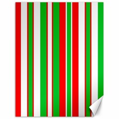 Christmas Holiday Stripes Red green,white Canvas 12  x 16