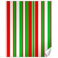 Christmas Holiday Stripes Red green,white Canvas 16  x 20