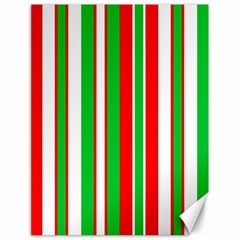 Christmas Holiday Stripes Red green,white Canvas 18  x 24