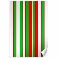 Christmas Holiday Stripes Red green,white Canvas 20  x 30