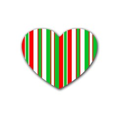 Christmas Holiday Stripes Red green,white Heart Coaster (4 pack)