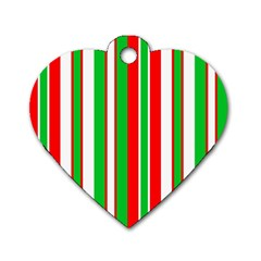 Christmas Holiday Stripes Red green,white Dog Tag Heart (Two Sides)