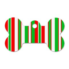 Christmas Holiday Stripes Red green,white Dog Tag Bone (One Side)