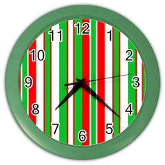 Christmas Holiday Stripes Red green,white Color Wall Clocks