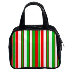 Christmas Holiday Stripes Red green,white Classic Handbags (2 Sides)