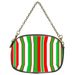 Christmas Holiday Stripes Red green,white Chain Purses (One Side)